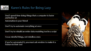 Karens Rules for Being Lazy from InfoAdvisors' Blog