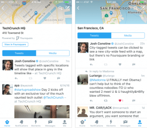 Twitter quietly launches location feeds with Foursquare